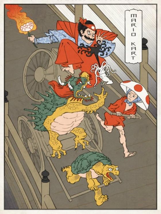 Mario,Ryu,Megaman & Co en mode Ukiyo-e (2)