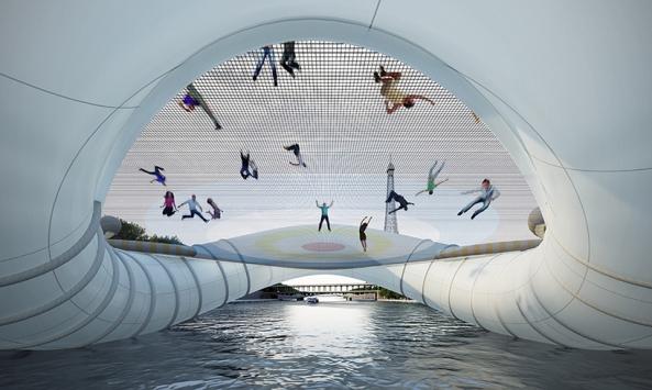 Un pont trampoline gonflable sur la Seine (2)